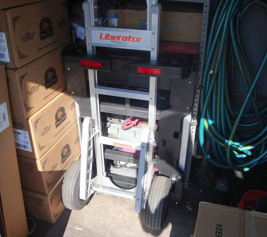 B&P Liberator hand truck locked securely